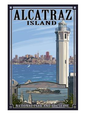 Alcatraz Island and City - San Francisco, CA by Lantern Press
