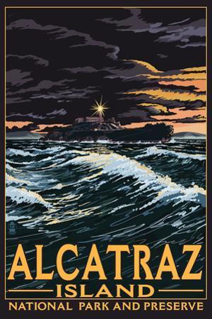 Alcatraz Island Night Scene - San Francisco, CA by Lantern Press
