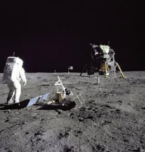 Aldrin Looks Back at Tranquility Base Photograph - Cape Canaveral, FL by Lantern Press
