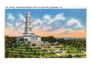 Alexandria, Virginia, Panoramic View of the George Washington Masonic National Memorial by Lantern Press