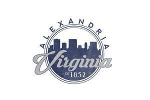 Alexandria, Virginia - Skyline Seal (Blue) by Lantern Press