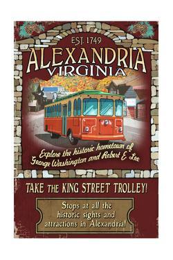 Alexandria, Virginia - Trolley Vintage Sign by Lantern Press