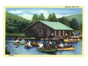 Allegany State Park, New York - View of Tourists Canoeing by the Boat House by Lantern Press