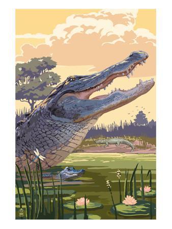 Alligator and Baby by Lantern Press