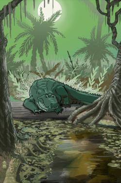 Alligator in Swamp by Lantern Press
