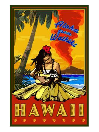 Aloha from Waikiki, Hawaii by Lantern Press