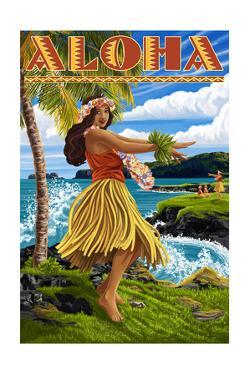 Aloha - Hawaii Hula Girl on Coast by Lantern Press