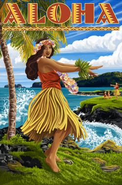 Aloha - Hawaii Hula Girl on Coast by Lantern Press