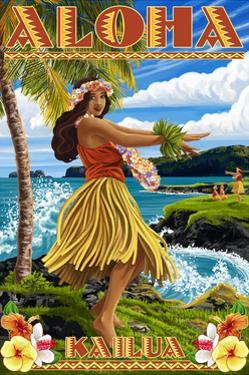 Aloha Kailua, Hawaii - Hula Girl on Coast by Lantern Press