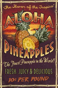Aloha Pineapples - Vintage Sign by Lantern Press