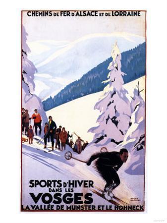 Alsace-Lorraine, France - Spectators Watching Skier Poster - Alsace-Lorraine, France by Lantern Press