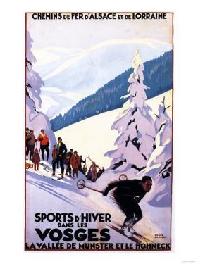 Alsace-Lorraine, France - Spectators Watching Skier Poster - Alsace-Lorraine, France by Lantern Press