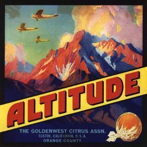 Altitude Brand - Tustin, California - Citrus Crate Label by Lantern Press