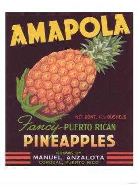 Amapola Pineapple Label - Corozal, PR by Lantern Press