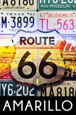 Amarillo Texas - Route 66 License Plates by Lantern Press