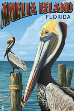 Amelia Island, Florida - Brown Pelican by Lantern Press