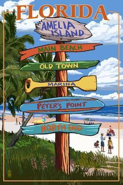 Amelia Island, Florida - Destinations Signpost by Lantern Press