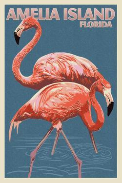 Amelia Island, Florida - Flamingo - Letterpress by Lantern Press