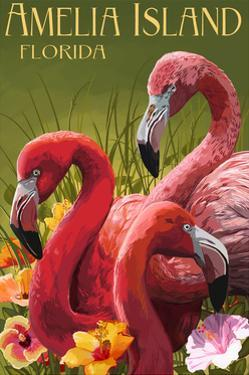 Amelia Island, Florida - Flamingos by Lantern Press