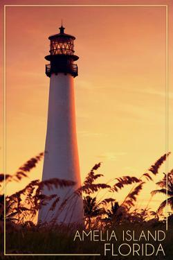 Amelia Island, Florida - Lighthouse and Seagrass by Lantern Press