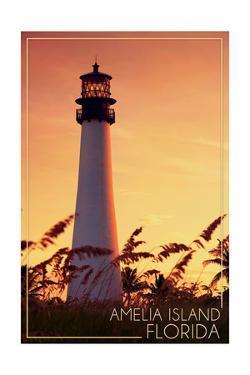 Amelia Island, Florida - Lighthouse and Seagrass by Lantern Press