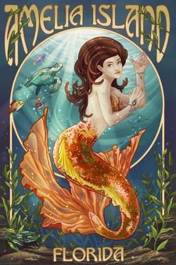 Amelia Island, Florida - Mermaid by Lantern Press