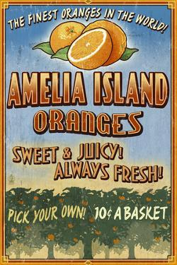 Amelia Island, Florida - Orange Grove - Vinatge Sign by Lantern Press
