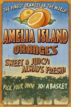 Amelia Island, Florida - Orange Grove - Vinatge Sign by Lantern Press