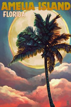Amelia Island, Florida - Palm and Moon by Lantern Press