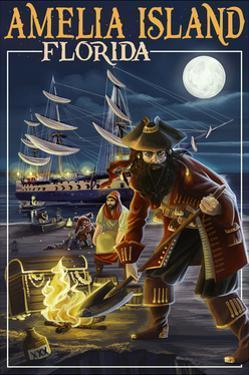 Amelia Island,Florida - Pirate and Treasure by Lantern Press