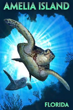 Amelia Island, Florida - Sea Turtle Diving by Lantern Press