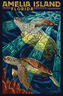 Amelia Island, Florida - Sea Turtle Mosiac by Lantern Press