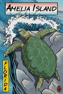 Amelia Island, Florida - Sea Turtle - Woodblock Print by Lantern Press