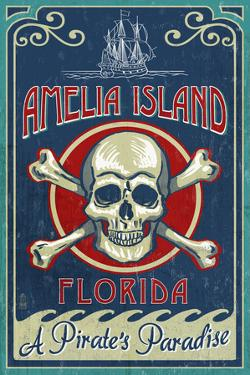 Amelia Island, Florida - Skull and Crossbones by Lantern Press