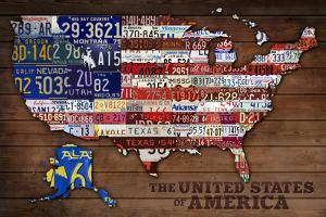 Americana - License Plate Map by Lantern Press