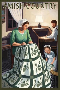 Amish Country - Quilting Scene by Lantern Press