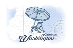 Anacortes, Washington - Beach Chair and Umbrella - Blue - Coastal Icon by Lantern Press