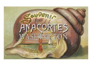 Anacortes, Washington - Shells & Sailboat Souvenir by Lantern Press