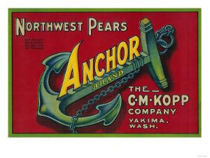 Anchor Pear Crate Label - Yakima, WA by Lantern Press