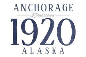 Anchorage, Alaska - Established Date (Blue) by Lantern Press
