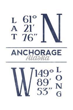 Anchorage, Alaska - Latitude and Longitude (Blue) by Lantern Press