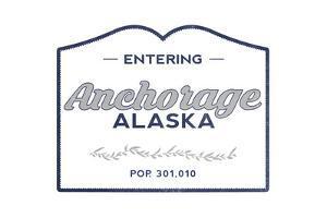 Anchorage, Alaska - Now Entering (Blue) by Lantern Press