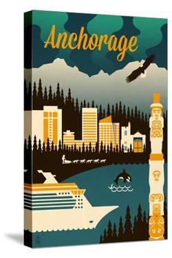 Anchorage, Alaska - Retro Skyline by Lantern Press