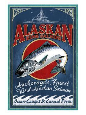 Anchorage, Alaska - Salmon by Lantern Press
