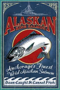 Anchorage, Alaska - Salmon by Lantern Press