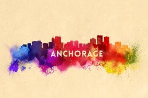 Anchorage, Alaska - Skyline Abstract by Lantern Press
