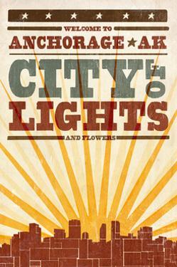 Anchorage, Alaska - Skyline and Sunburst Screenprint Style by Lantern Press