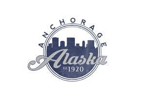 Anchorage, Alaska - Skyline Seal (Blue) by Lantern Press