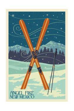 Angel Fire, New Mexico - Crossed Skis by Lantern Press