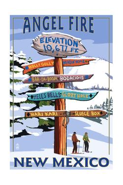 Angel Fire, New Mexico - Destinations Signpost by Lantern Press
